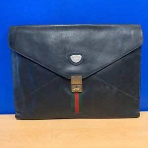 Gucci WEB Ophidia Black Leather Briefcase Clutch